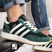 Мужские кроссовки в стиле Adidas Iniki Green/White Зеленые с белым