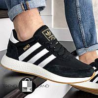 Мужские кроссовки в стиле Adidas Iniki Black/White Черные с белым