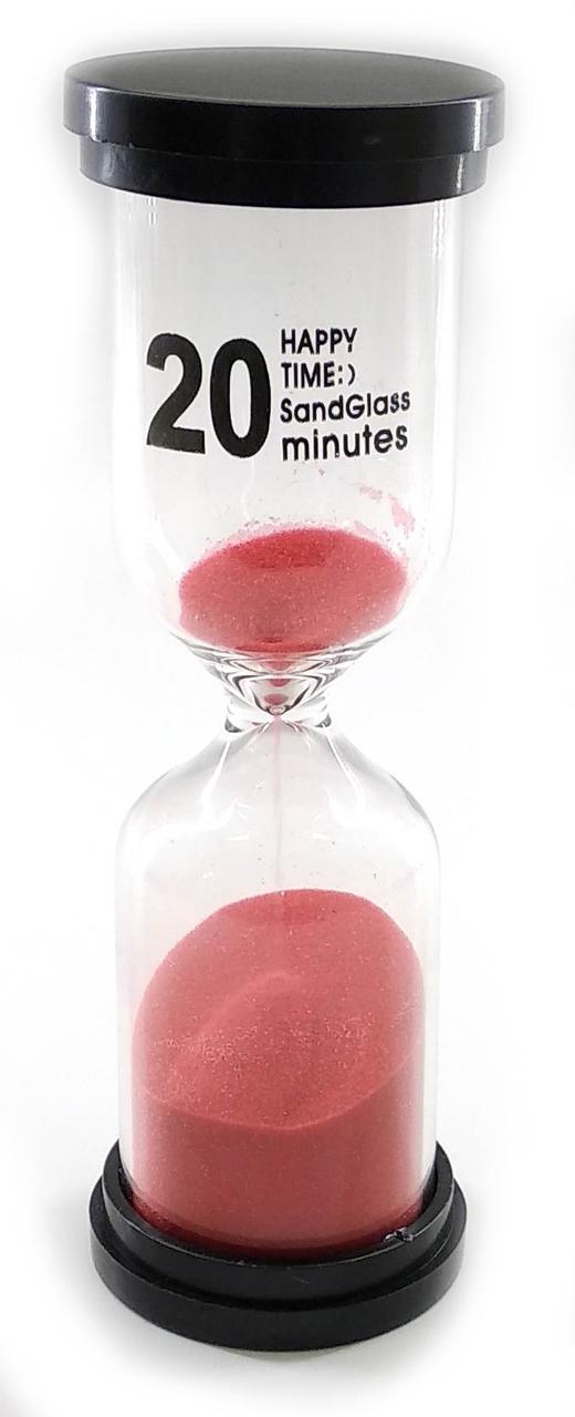 Часы песочные 20 мин красный песок (14х4,5х4,5 см)