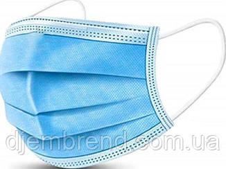 Маска одноразовая, медицинская, пропаянная, трехслойная цвет голубой, Минимальный заказ от 50 шт.