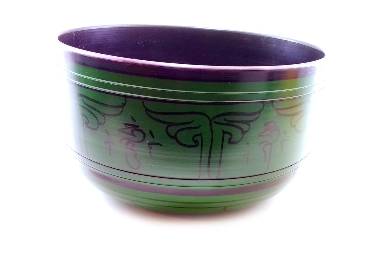 Чаша поющая темно зеленая (d-22 см h-13 см)