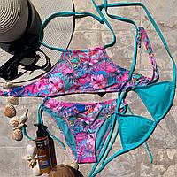 Раздельный яркий подростковый купальник тройка с розовым фламинго