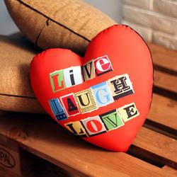 Подушка сердце Live laugh love 37x37, 57x57 (4PS_15L037)