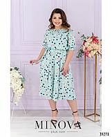 Женственное летнее платье с рукавом-фонариком с расклешенным подолом с 50 по 56 размер