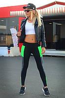 Спортивные лосины 46-48. Лосины женские для танцев, фитнеса, спорта, бега. Серо-салатовые