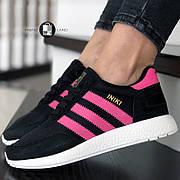 Женские кроссовки в стиле Adidas Iniki Black/Pink Черные с розовым