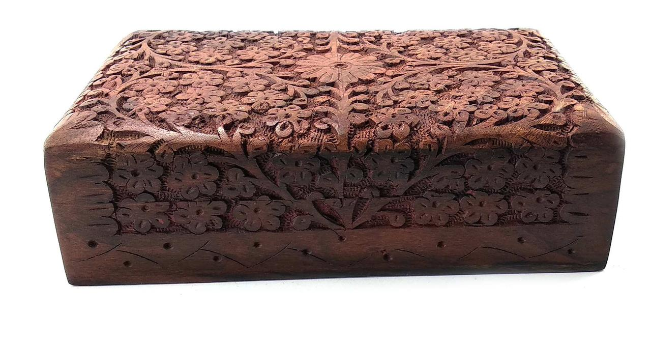 Шкатулка резная розовое дерево (20,5х12,5х6 см)