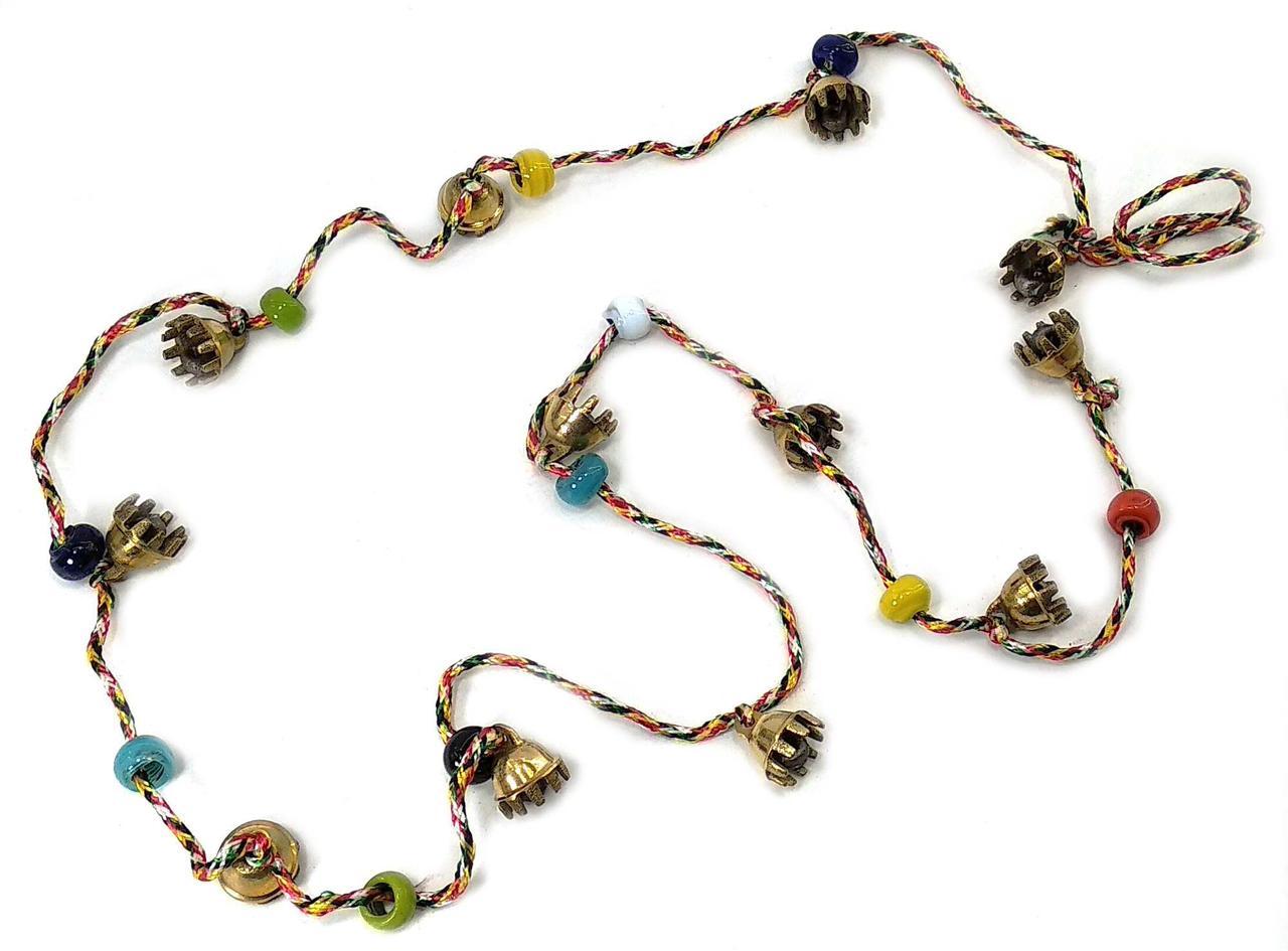 Колокольчики бронзовые с бусинками на нитке №2 (12 шт)(130 см)