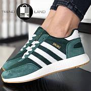 Женские кроссовки в стиле Adidas Iniki Green/White Зеленые с белым