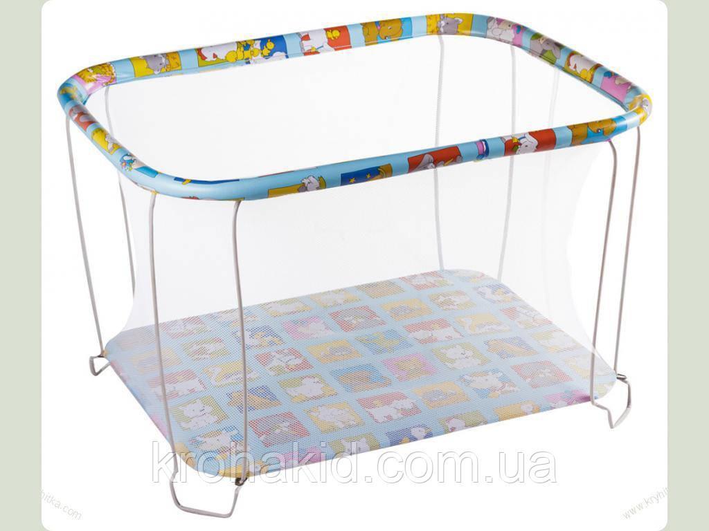 """Детский классический игровой манеж с мелкой сеткой KinderBox """"Ферма""""  - игровой центр для детей"""