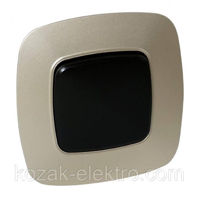 Вимикач 1 клавішний серія ELA колір чорний-золото
