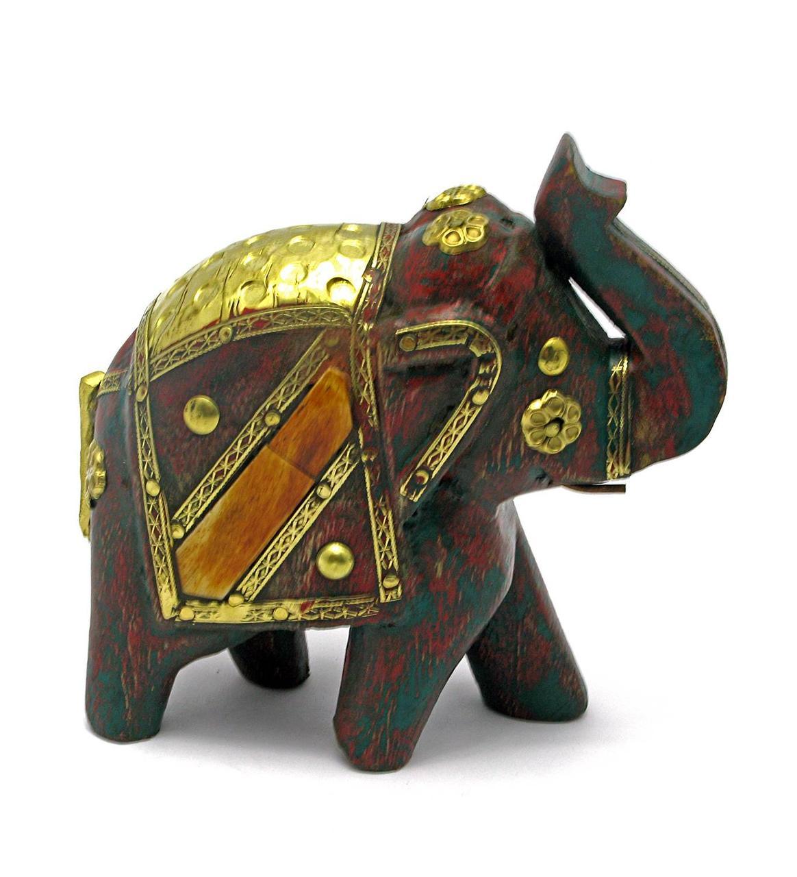Слон деревянный винтажный с медными вставками (h-11 см)