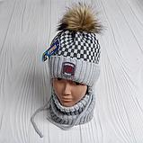 М 94006 Комплект для хлопчика шапка з помпоном і манишка , різні кольори, фото 5