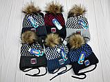 М 94006 Комплект для хлопчика шапка з помпоном і манишка , різні кольори, фото 9