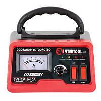 Зарядний пристрій 6/12В, регулювання сили струму 0-10А, 230В INTERTOOL AT-3020