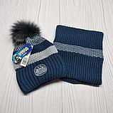 М 94013 Комплект для мальчика шапка  с помпоном и баф зимний , разные цвета, фото 10