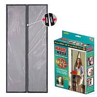 Антимоскитная сетка-штора на магнитах Magic Mesh двери 210х105 см Черная