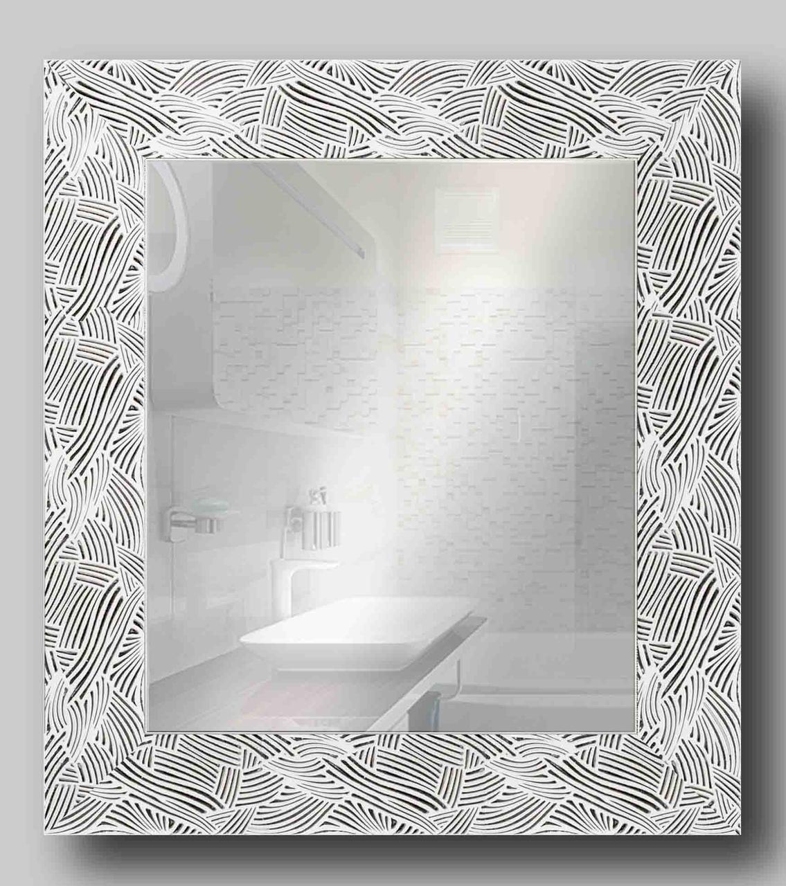 Зеркало настенное в раме Factura White pattern 48.5х53.5 см белое