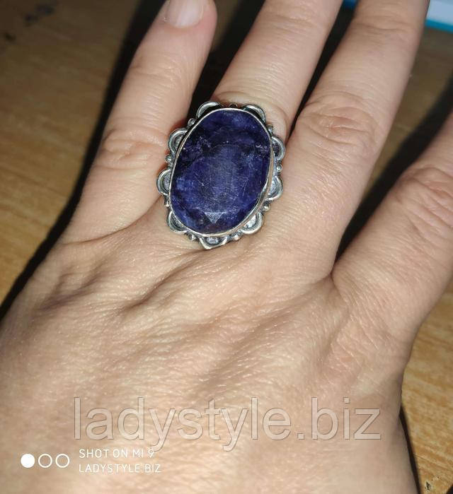 купить украшения с натуральным сапфиром кольцо перстень серебряный