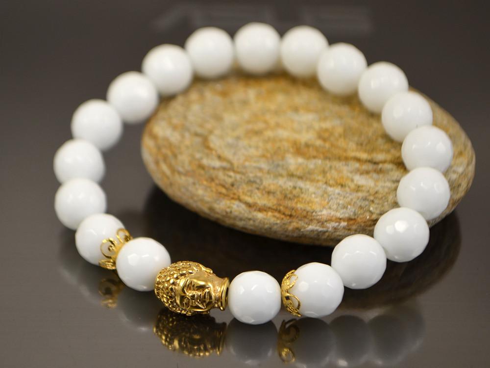Браслет Золотой Будда (белый граненый агат)