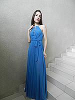 Вечернее легкое длинное платье из сине-голубого шифона, на выпускной, на свадьбу, коктейльное, нарядное