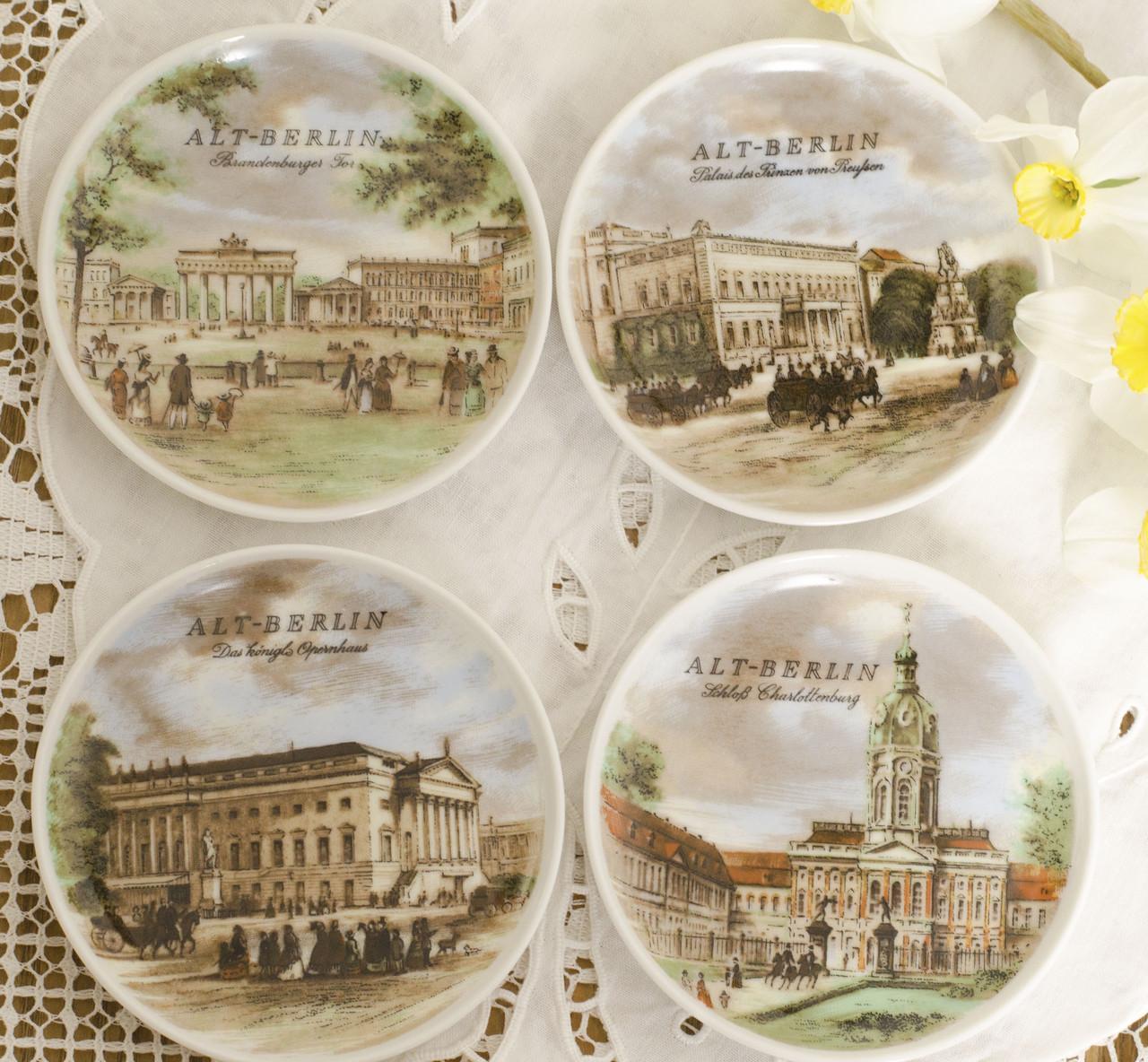 Четыре фарфоровые тарелочки с историческими зданиями Берлина, фарфор, Германия, Kaiser