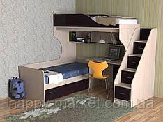 Кровать чердак с нижним спальным местом и лестницей комодом для подростков КЧДП -2904,