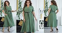 Красивое летнее расклешенное платье с коротким рукавом размеры батал 50-58 арт 120