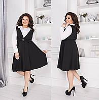 """Модное женское платье, ткань """"Софт+Трикотаж"""" 52, 56, 58 размер батал 52"""