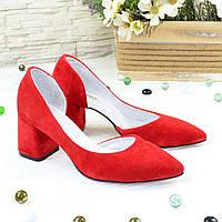 Туфли женские замшевые на невысоком устойчивом каблуке, цвет красный. 37 размер