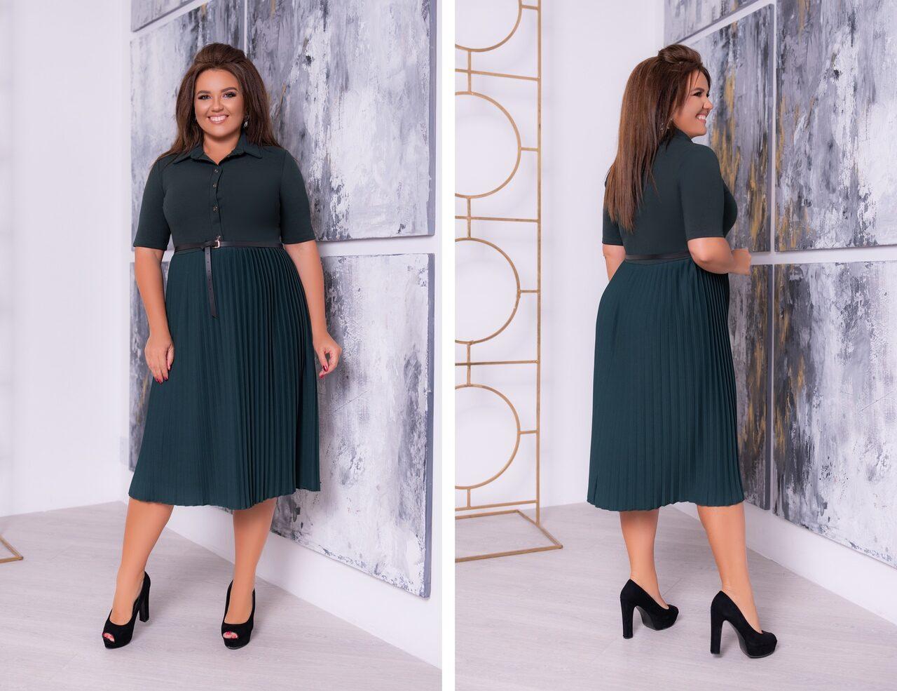 """Шикарное женское платье ткань """"Креп-дайвинг"""" с плиссированной юбкой 56, 58 размер батал"""