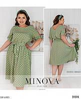 Летнее легкое платье с коротким рукавом больших размеров 52-60 арт 17-205