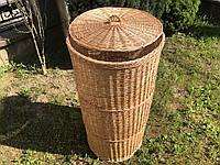 Плетена корзина для білизни d55 x h110 см. з кришкою.
