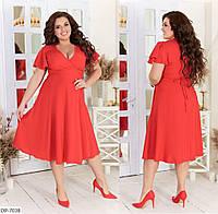 Красивое расклешенное летнее платье на запах длины миди размеры 48-64 арт 05200