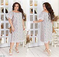Натуральное летнее прямое платье за колено размеры 48-62 арт 05194