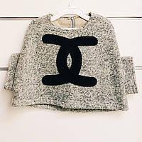 Пальто демисезонное для девочки Chanel пончо Vilen Китай серое 4200