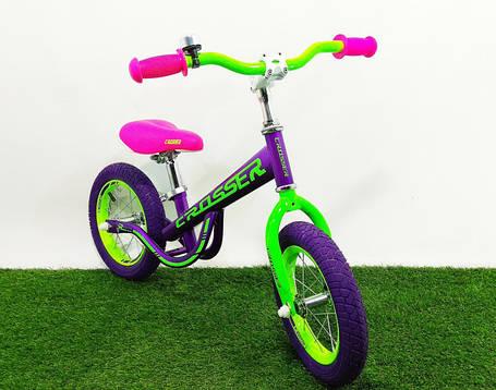 Дитячий беговел (велобіг від) Crosser Balance Bike New 14 дюймів фіолетовий, фото 2