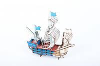 Деревянный конструктор для детей корабль из фанеры  53 детали