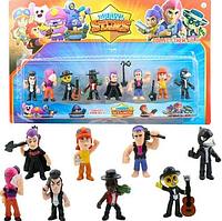 Набор игрушечных фигурок Brawl Stars 8 шт, персонажи игры Бравл Старс с аксессуарами: Ворон, Тара