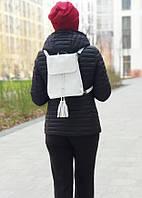 Кожаный белый женский рюкзак