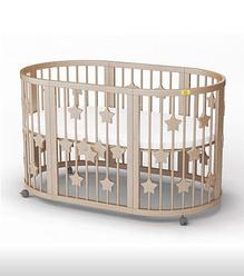 Детская овальная кроватка-трансформер IngVart Smartbed Round декор звездочки (слоновая кость)