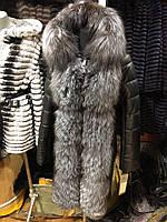 Женский кожаный пуховик с натуральным мехом чорнобурки 90 см Турция размеры 42-56
