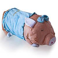 Мягкая игрушка подушка ХРЮША 50х15 см, голубая