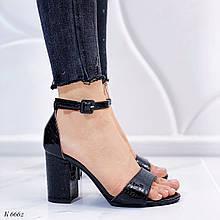 Босоножки женские черные - питон на каблуке 8,5 см эко- кожа