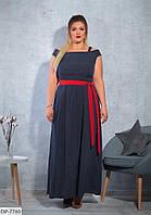 Красивое длинное летнее платье с поясом больших размеров 48-58 арт 1133