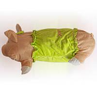 Мягкая игрушка подушка ХРЮША 50х15 см, салатовая