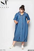 Тонкое джинсовое летнее платье свободного кроя за колено размеры батал 52-62 арт 1147