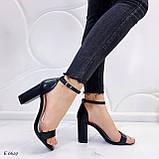 Босоніжки жіночі чорні закриті на підборах 8,5 см еко - шкіра, фото 5