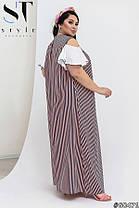 Модное женское платье свободного кроя в продольную полоску декорированное кружевом с 50 по 64 разм, фото 3