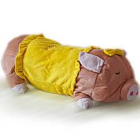 Мягкая игрушка подушка ХРЮША 50х15 см, желтая